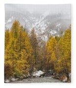 Guisane Valley In Autumn - French Alps Fleece Blanket