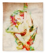 Guitar Lovers Embrace Fleece Blanket