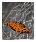 Gulf Fritillary Butterfly In The Brambles Fleece Blanket