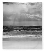 Gulf Of Mexico In Black And White Fleece Blanket