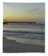 Gulf Shores Alabama Fishing Pier Digital Painting A82518 Fleece Blanket by Mas Art Studio