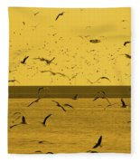 Gulls Orange Tint Fleece Blanket
