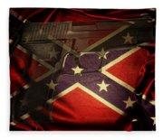 Gun And Confederate Flag Fleece Blanket