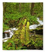 Gushing Through Ferns And Forest Fleece Blanket