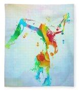 Gymnast Watercolor Paint Splatter Fleece Blanket