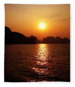 Ha Long Bay Sunset Fleece Blanket