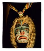 Haida Carved Wooden Mask 4 Fleece Blanket