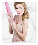 Hair Style Model. Pinup Girl With Large Pink Comb Fleece Blanket