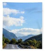 Hairpin Curve On Greek Mountain Road Fleece Blanket