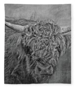 Hairy Highlander Bw Fleece Blanket