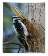 Hairy Woodpecker Fleece Blanket
