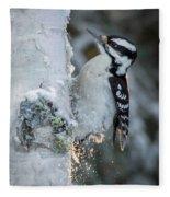 Hairy Woodpecker Female Fleece Blanket