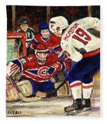 Halak Blocks Backstrom In Stanley Cup Playoffs 2010 Fleece Blanket
