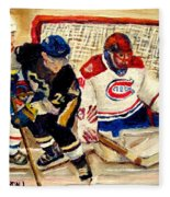 Halak Catches The Puck Stanley Cup Playoffs 2010 Fleece Blanket