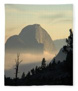 Half Dome And Fog At Olmsted Point In Yosemite Fleece Blanket