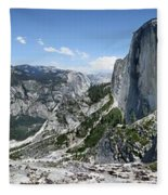 Half Dome And Yosemite Valley From The Diving Board - Yosemite Valley Fleece Blanket