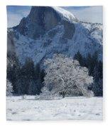 Half Dome In Winter Fleece Blanket