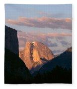 Half Dome Mountain At Sunset, Yosemite Fleece Blanket