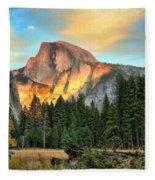 Half Dome Sunset Fleece Blanket