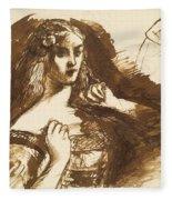 Half-length Sketch Of A Young Woman Fleece Blanket