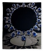 Hall Sapphire And Diamond Necklace Fleece Blanket