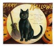 Halloween Greetings With Black Cat And Carved Pumpkins Fleece Blanket