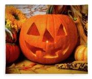 Halloween Pumpkin Smiling Fleece Blanket