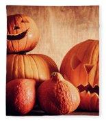 Halloween Pumpkins, Carved Jack-o-lantern. Fleece Blanket