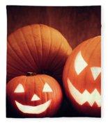 Halloween Pumpkins Glowing, Jack-o-lantern Fleece Blanket