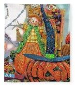 Halloween Scarecrow And Pumpkin Pa 02 Vertical Fleece Blanket