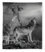 Halloween - Spirits Of The Wolf Fleece Blanket