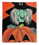 Halloween Witch And Pumpkin Art Fleece Blanket