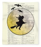 Witch Flying With Full Moon Fleece Blanket