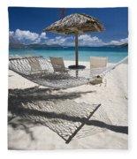 Hammock On The Beach Fleece Blanket