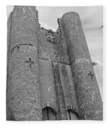 Hammond Castle Detail - Black And White Fleece Blanket