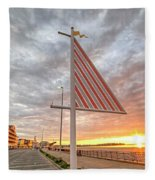 Hampton Beach Sunrise Hampton Beach State Park Hampton Nh Flag Fleece Blanket