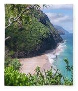 Hanakapiai Beach - Kalalau Trail - Kauai Hawaii Fleece Blanket