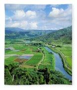 Hanalei Valley Taro Field Fleece Blanket