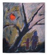 Hand In Hand Walk Under The Moon Fleece Blanket