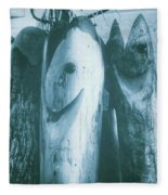 Hand Carved Fish Sculptures Fleece Blanket