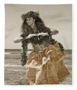 Hand Colored Hula Fleece Blanket