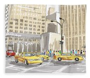 Hand Drawn Sketch Of A Busy New York City Street Fleece Blanket