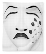 Hand On Face Mask Black White Fleece Blanket