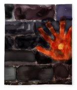 Hand On The Hole On The Wall Fleece Blanket