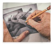 Hands Drawing Hands Fleece Blanket