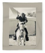 Handsome Knight Riding His Horse Fleece Blanket