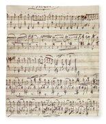 Handwritten Score For Waltz For Piano, Opus 39 Fleece Blanket