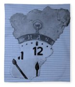 Hans Clock Cyan Fleece Blanket