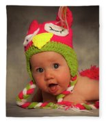 Happy Baby In A Woollen Hat Fleece Blanket