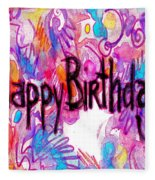 Happy Birthday Card Fleece Blanket